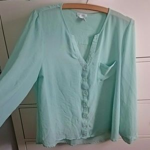 Teal flowy blouse